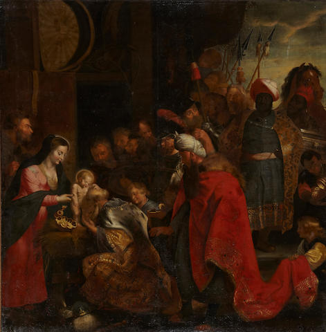 Italian School, 17th Century * SEND TO BK * The Adoration of the Magi 88 x 86 1/2in (223.5 x 219.7cm)