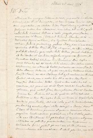 NIAGARA FALLS & THE BEAVER WARS. [DONGAN, THOMAS. 1634-1715.] Manuscript Letter, in Latin, 2 pp recto and verso, folio (integral blank), Albany, May 22, 1686, [to the Marquis de Denonville, Governor General of New France],