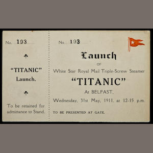 Launch ticket - R.M.S Titanic # 193 Dated May 31, 1911