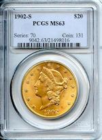 1902-S $20 MS63 PCGS