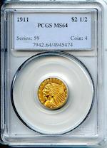 1911 $2.5 MS64 PCGS