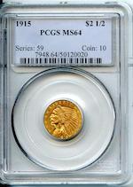 1915 $2.5 MS64 PCGS