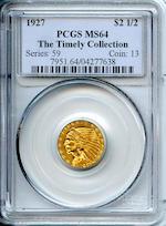 1927 $2.5 MS64 PCGS