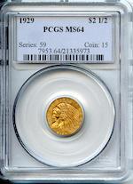 1929 $2.5 MS64 PCGS