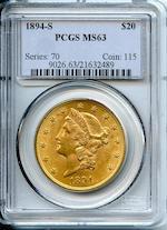 1894-S $20 MS63 PCGS