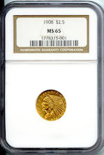 1908 $2.5 MS65 NGC