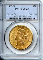 1887-S $20 MS62 PCGS