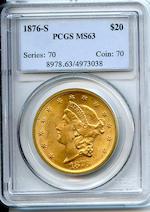 1876-S $20 MS63 PCGS