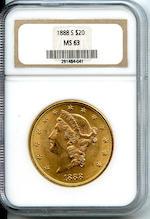 1888-S $20 MS63 NGC