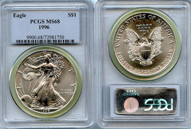1996 $1 Silver Eagles MS68 PCGS (100)
