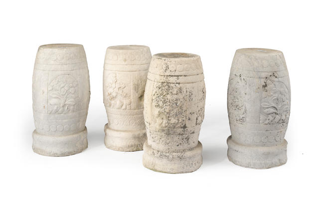 A group of four carved marble seats Qing dynasty