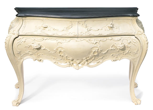 A Venetian Rococo style white painted bombe commode 20th Century