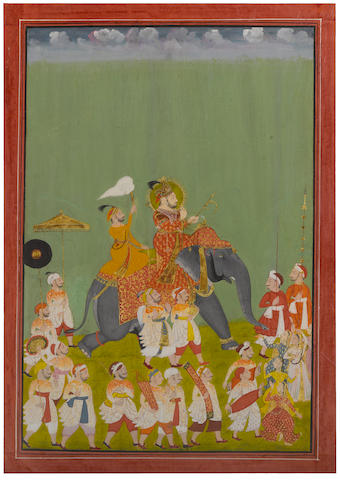 Jagat Singh on Elephant procession, Opaque watercolor and gold on paper, Udaipur, circa 1740