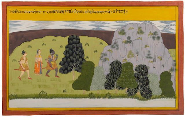 Illustration to the Ramayana, Opaque watercolor and gold on paper, Udaipur, circa 1710