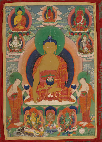 Shakyamuni Buddha Distemper on cloth Bhutan 19th century