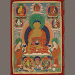Shakyamuni Buddha Distemper on cloth Bhutan 19th century