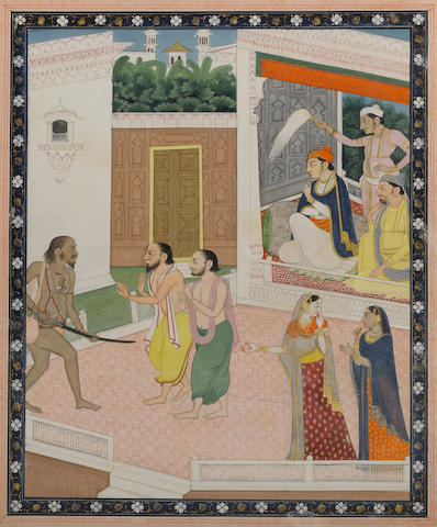 Courtiers subduing  Kapalika   Opaque watercolor and gold on paper Mandi (Sikh) circa 1820-40