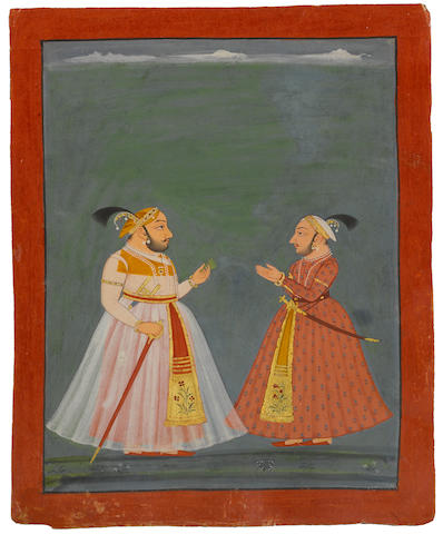 Maharana Jagat Singh with his brother Nathji  Opaque watercolor and gold on paper Mewar, Rajasthan Circa 1735