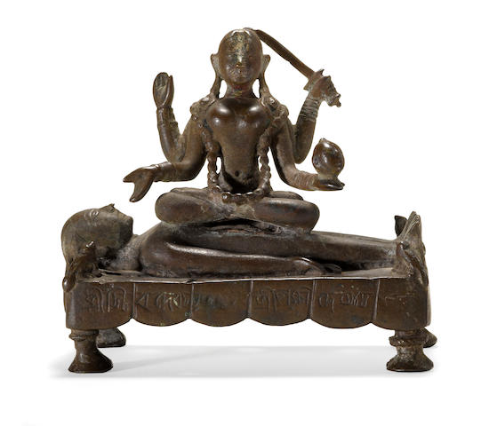 Kali seated on Shiva Bronze West Bengal or Bangladesh circa 17th century