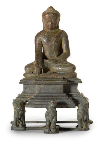 A bronze enthroned Buddha Shakyamuni West Bengal or Bangladesh, Pala period, circa 11th century