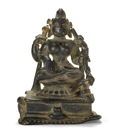 Seated Durga Bronze West Bengal or Bangladesh 12th century