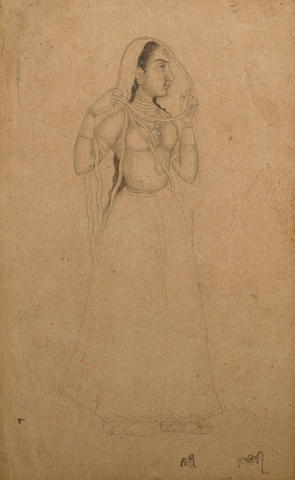 Courtesan Ink and wash on paper Bikaner Early 18th century