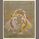 Dancing maidens Opaque watercolor on paper Bilaspur Circa 1700