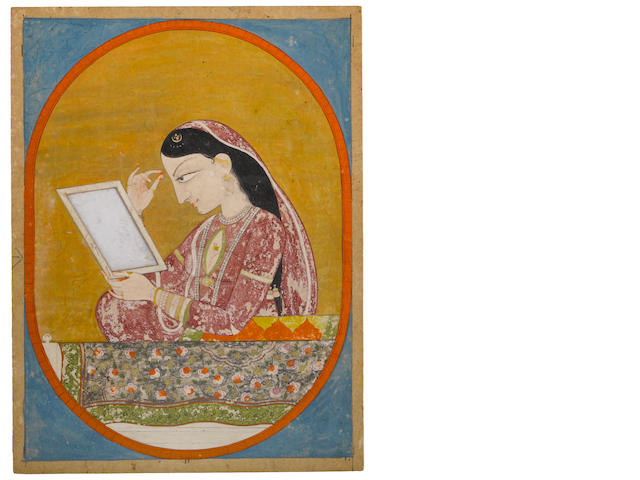 Maiden gazing into a mirror Opaque watercolor on paper with mica Kangra circa 1850