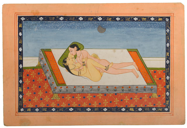 Two erotic studies Opaque watercolor and gold on paper Kangra circa 1840