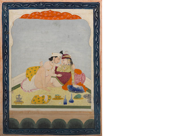 Erotic study Opaque watercolor and gold on paper Kangra circa 1850