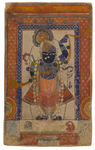 Five devotional cards of Sri Nathji, opaque watercolor on paper, Nathdwara, 1820-1870