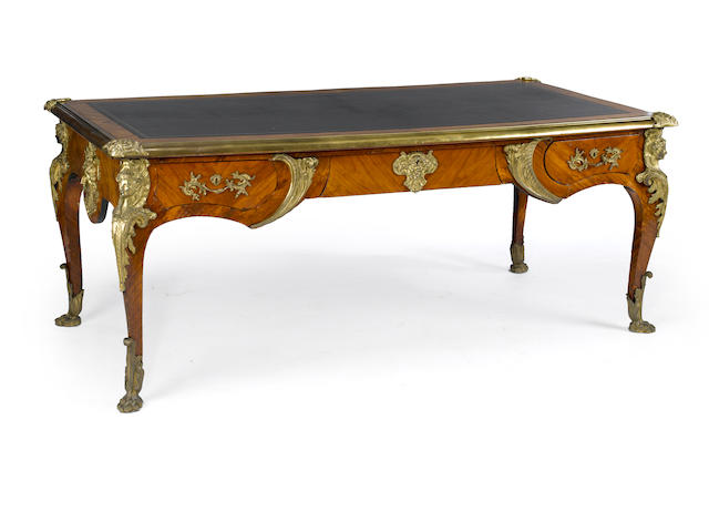 A Louis XV style gilt bronze mountned parquetry bureau plat<BR /> late 19th century