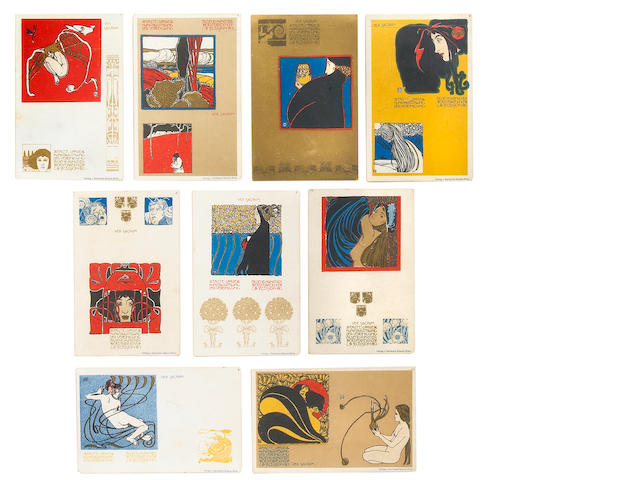 A set of nine Josef Hoffmann Ver Sacrum postcards
