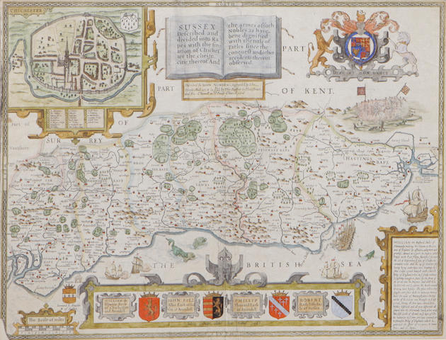 A French hand colored engraving map of Sussex Engraved by John Speed, first executed in 1666.  height 15in; width 20in