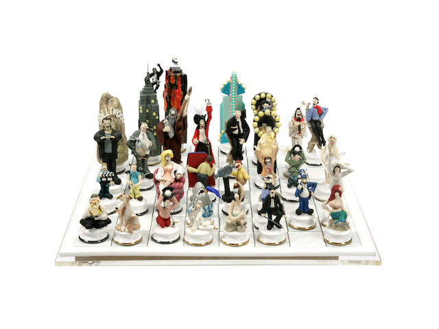 A Doug Anderson ceramic Hollywood chess set