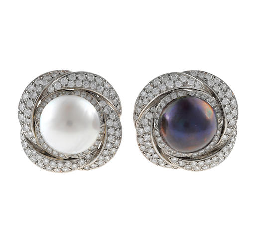 A pair of black and white mabé cultured pearl and diamond earclips