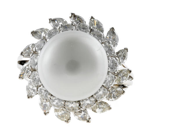 A semi-baroque cultured pearl and diamond ring