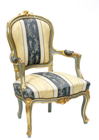 A pair of Italian Rococo style parcel gilt and paint decorated armchairs