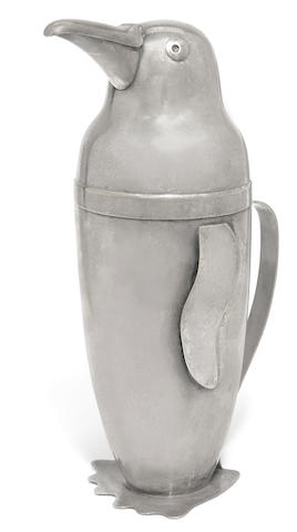 An Emil Schuelke silver plated Penguin cocktail shaker for the Napier Company