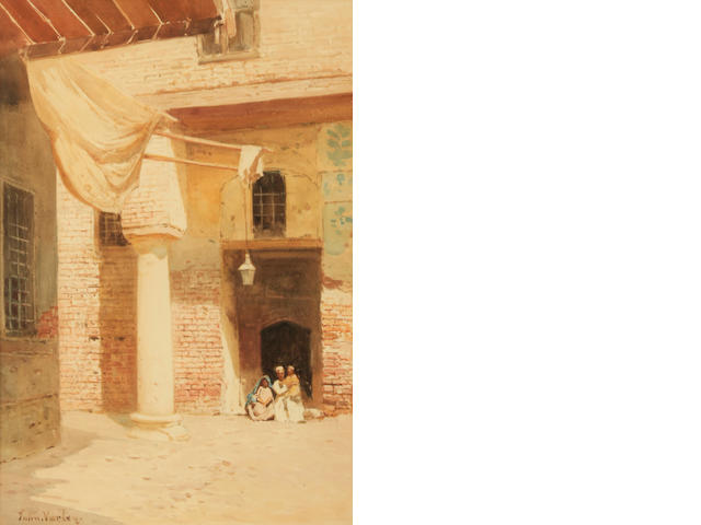 John Varley the Younger (British, 1850-1933), At Rosella, Lower Egypt, signed, watercolor on paper, 15 1/2 x 10 1/2in, framed