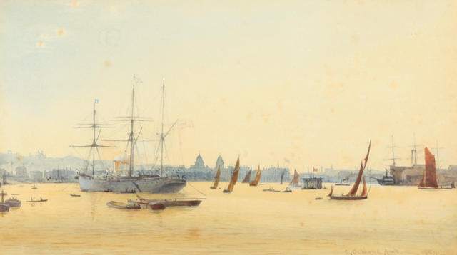 Arthur Ackland Hunt (British) A harbor scene 11 1/2 x 15 1/2in