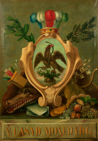 Mexican School A still life of the coat of arms of Mexico with minting symbolism 50 x 38in