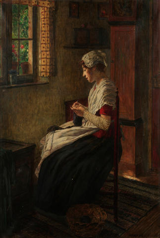 Walter Firle (German, 1859-1929) An interior scene with a woman seated by a window knitting 32 x 24 1/2in