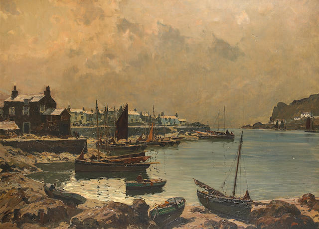 Claus Bergen (German, 1885-1964) Fishing boats in a harbor