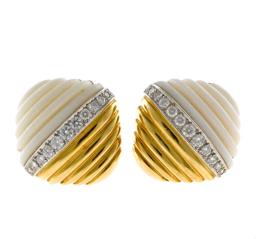 A pair of diamond and white coral fluted earclips, Turi