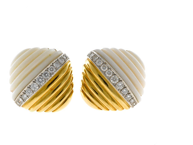 A pair of diamond and white coral flutted earclips, Turi