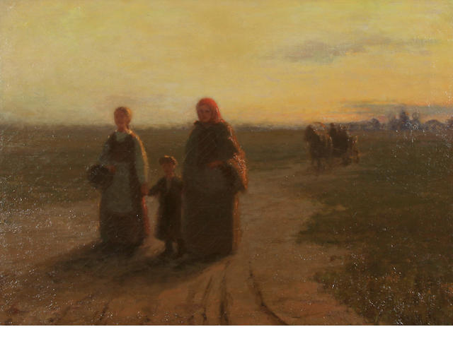 Hungarian school? Figures on a country path 18 1/4 x 24 1/4in