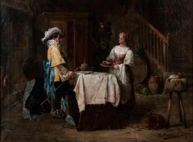 Giorgio Baldero (Italian) A maid with a cavalier in a tavern 19 1/2 x 25 1/2in