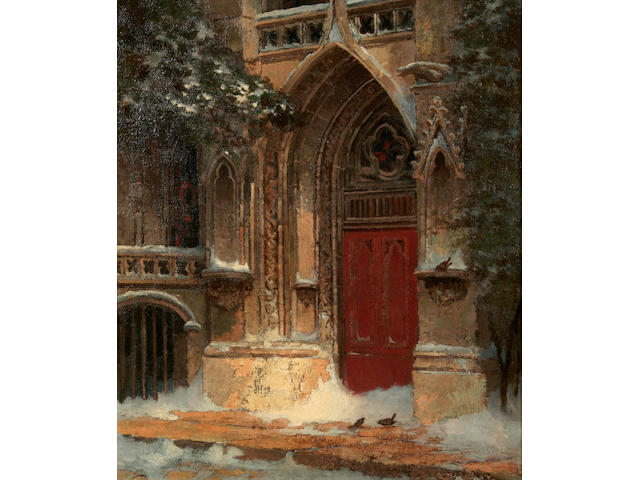 Edwin Deakin (American, 1838-1923) A doorway 19 x 23 1/4in