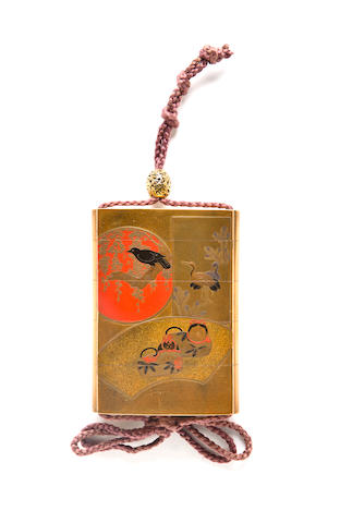 An unusual lacquer two-case inro by Koma Kansai, 19th century
